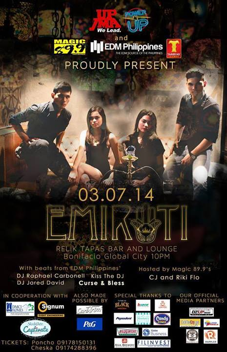 """EMIRATI"" - 03.07.14 - Relik Tapas Bar and Lounge, Bonifacio Global City - 10pm"