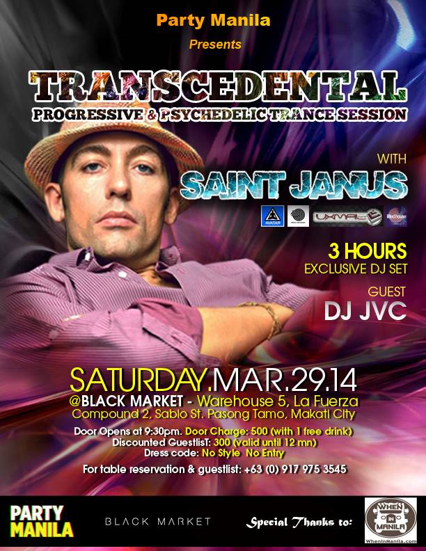 Transcedental: Progressive and Psychedelic Trance Session with SAINT JANUS & guest DJ JVC